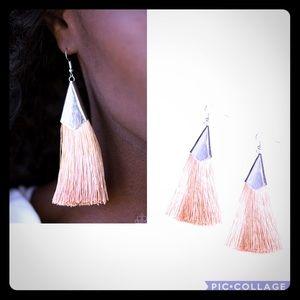 Tan fringe earrings